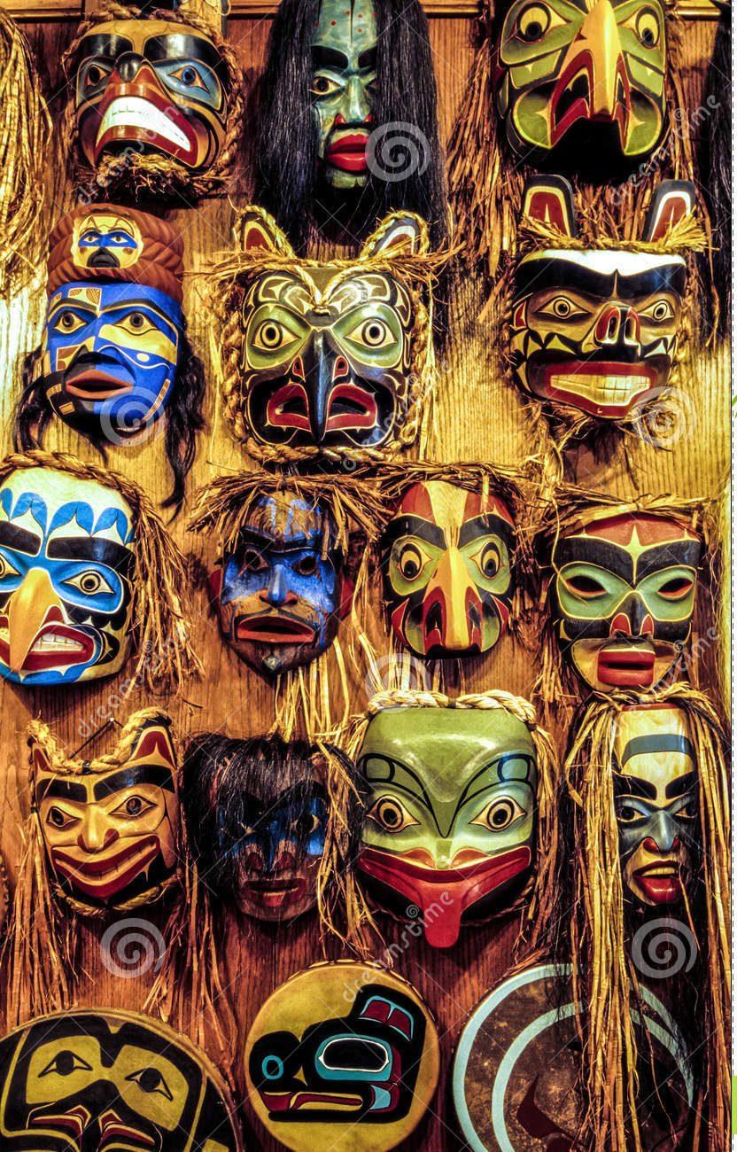 máscaras del nativo americano